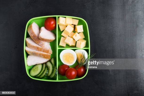 healthy protein snack box with chicken breast, cheese, hardboiled eggs - hard boiled eggs stock photos and pictures