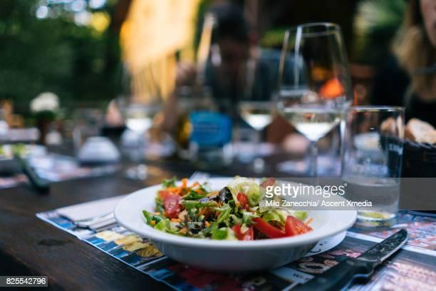 Healthy salad at restaurant