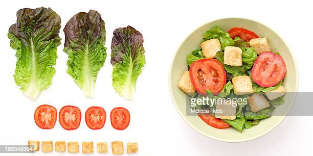 Healthy salad ingredients next to a tossed salad