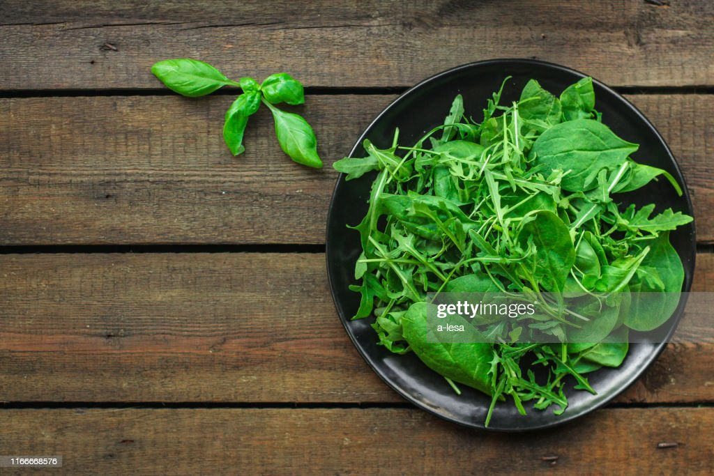 Healthy salad, leaves mix salad (mix micro greens, juicy snack). food background - Image : Stock Photo