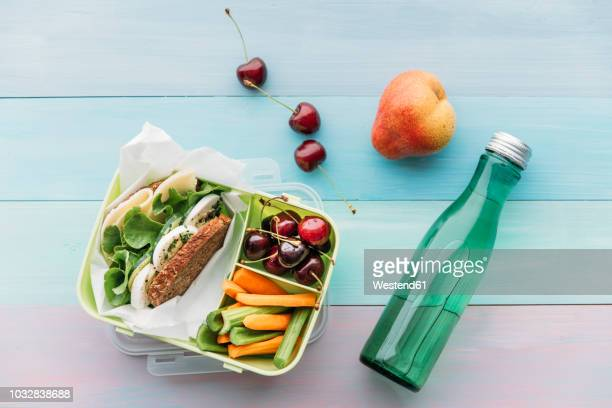 healthy school food in a lunch box, vegetarian sandwich with cheese, lettuce, cucumber, egg and cress, sliced carrot and celery, cherries and pear - gezonde voeding stockfoto's en -beelden