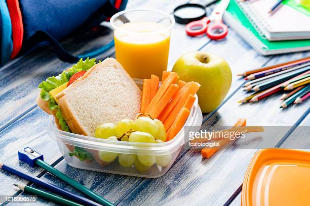 healthy school lunch box - lunch stock pictures, royalty-free photos & images