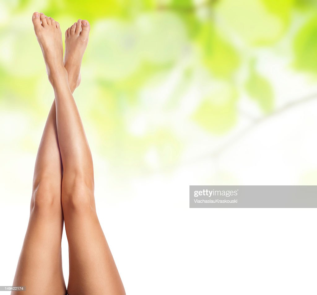 healthy sexy slender female legs over green : Stock Photo