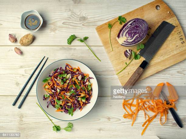 healthy slaw - soy sauce stock photos and pictures