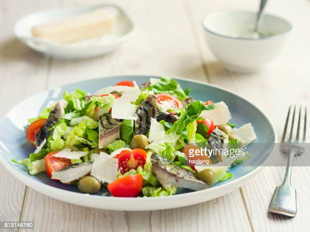 healthy summer mackerel salad - mackerel stock pictures, royalty-free photos & images