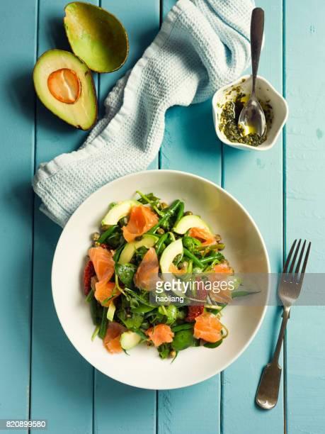 Healthy summer salad with smoke salmon