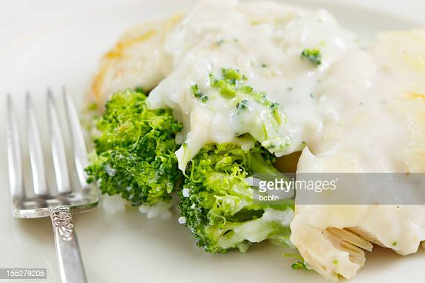 healthy turkey divan with broccoli and rice - cheese sauce stock photos and pictures