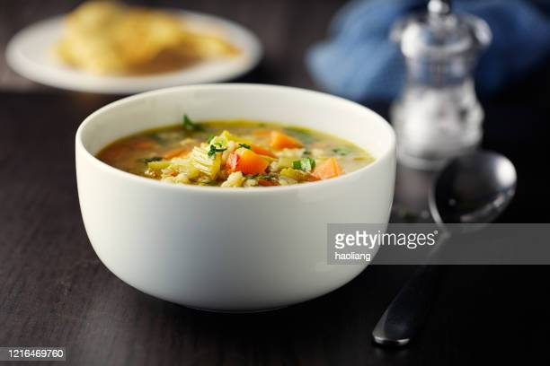 healthy vegan broth - soup bowl stock pictures, royalty-free photos & images