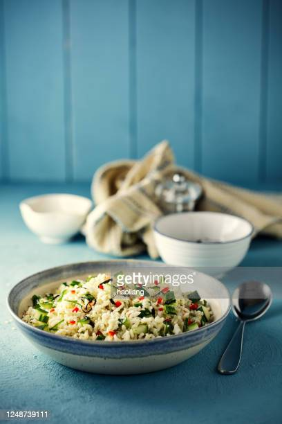 healthy vegan brown rice salad  bowl - organic stock pictures, royalty-free photos & images