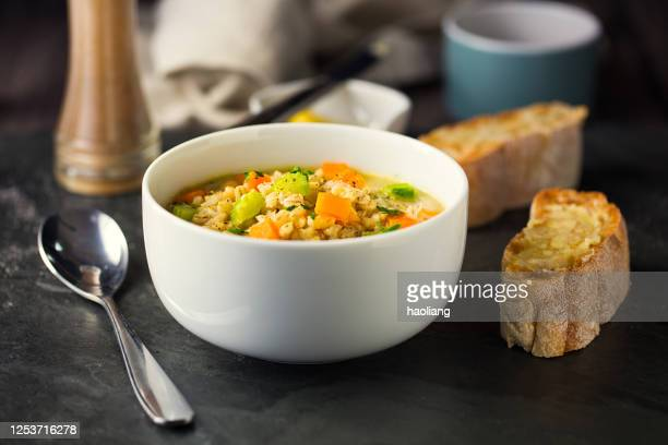 healthy vegan scotch broth - soup bowl stock pictures, royalty-free photos & images