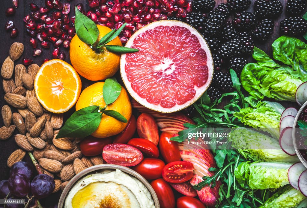 Healthy Vegan Snack Board Pink Grapefruit : Stock Photo
