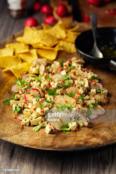 healthy vegan tofu and radish ceviche - crucifers stock pictures, royalty-free photos & images