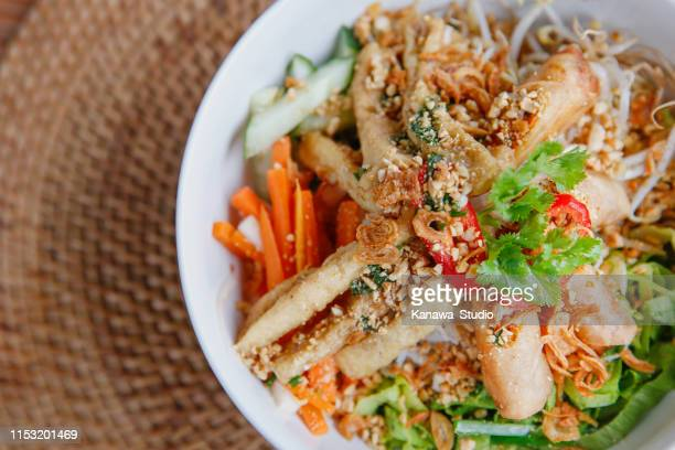 healthy vegan vietnamese noodle bowl - indochina stock pictures, royalty-free photos & images