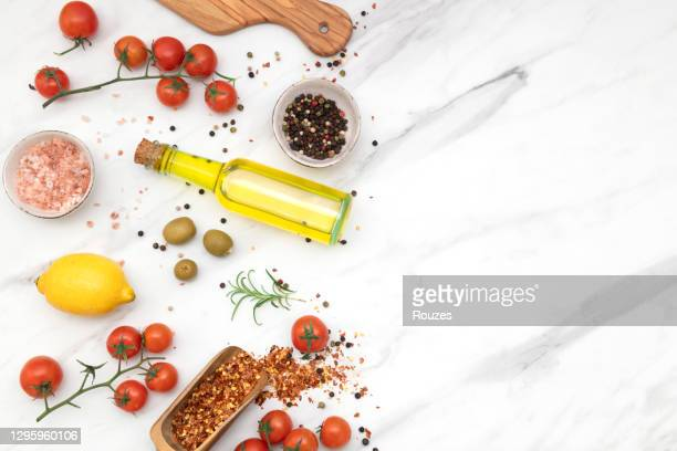 healthy vegetables, greens and grains, copy space - kitchen worktop stock pictures, royalty-free photos & images