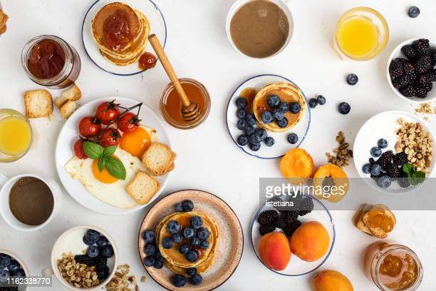 healthy vegetarian breakfast or brunch, favorite meal - breakfast stock pictures, royalty-free photos & images