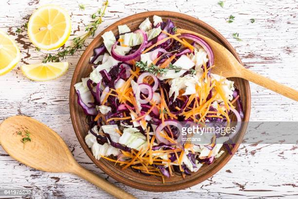 healthy vegetarian food, vegatable salad - cabbage stock pictures, royalty-free photos & images