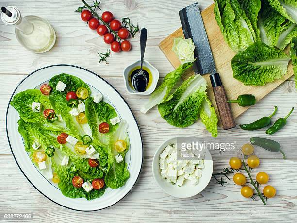 healthy vegetarian salad - romaine lettuce stock photos and pictures