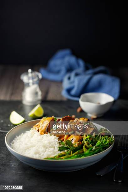 healthy vegetarian thai red curry with rice - curry meal stock pictures, royalty-free photos & images