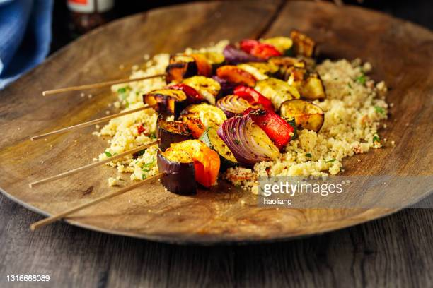 healthy veggie skewer with couscous salad - vegetable kebab stock pictures, royalty-free photos & images