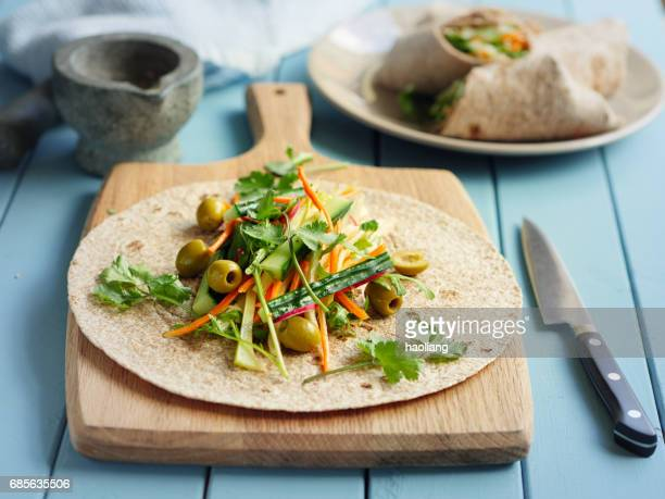 healthy veggie wraps - tortilla flatbread stock photos and pictures