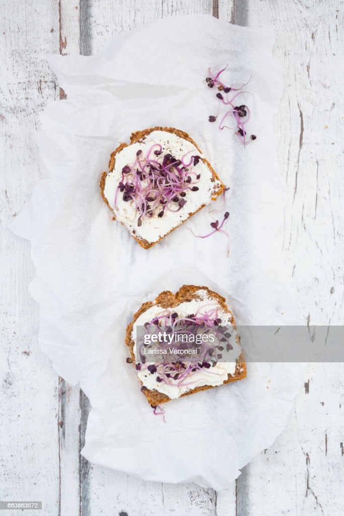 Healthy whole grain bread with cream cheese and beetroot sprouts : Stock-Foto