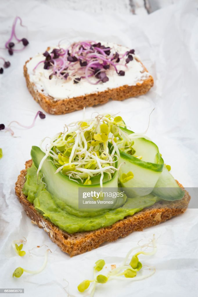 Healthy whole grain bread with different toppings : Stock Photo