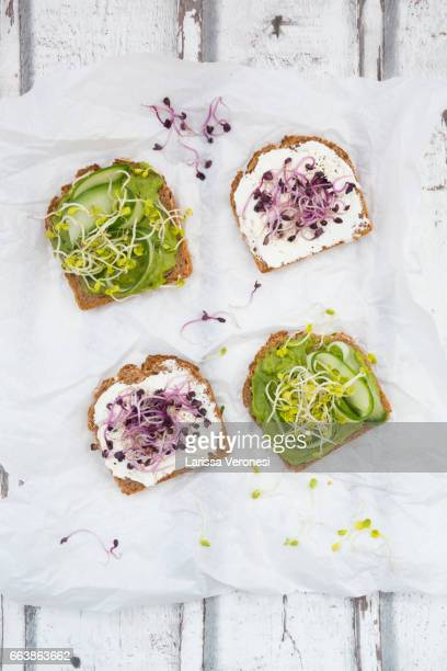 Healthy whole grain bread with different toppings