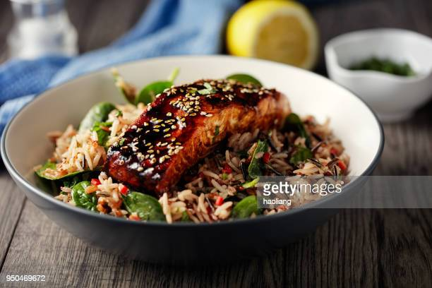 healthy wild rice salad with grilled teriyaki  salmon fillet - crockery stock pictures, royalty-free photos & images