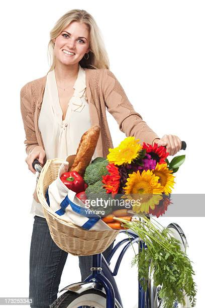 Healthy Woman Biking for Grocery Shopping on White Background Vt
