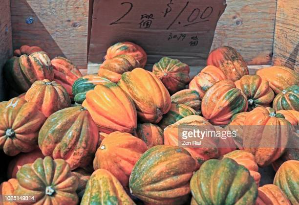 Heap of Acorn Squash (Cucurbita pepo var. turbinata) for sale in a market stall in Chinatown, Toronto
