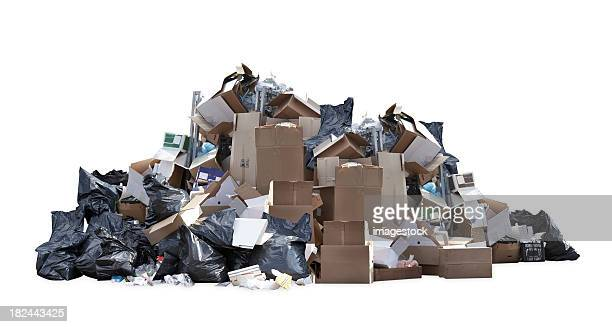 heap of black garbage bags, cardboard boxes and other trash - stack stock photos and pictures