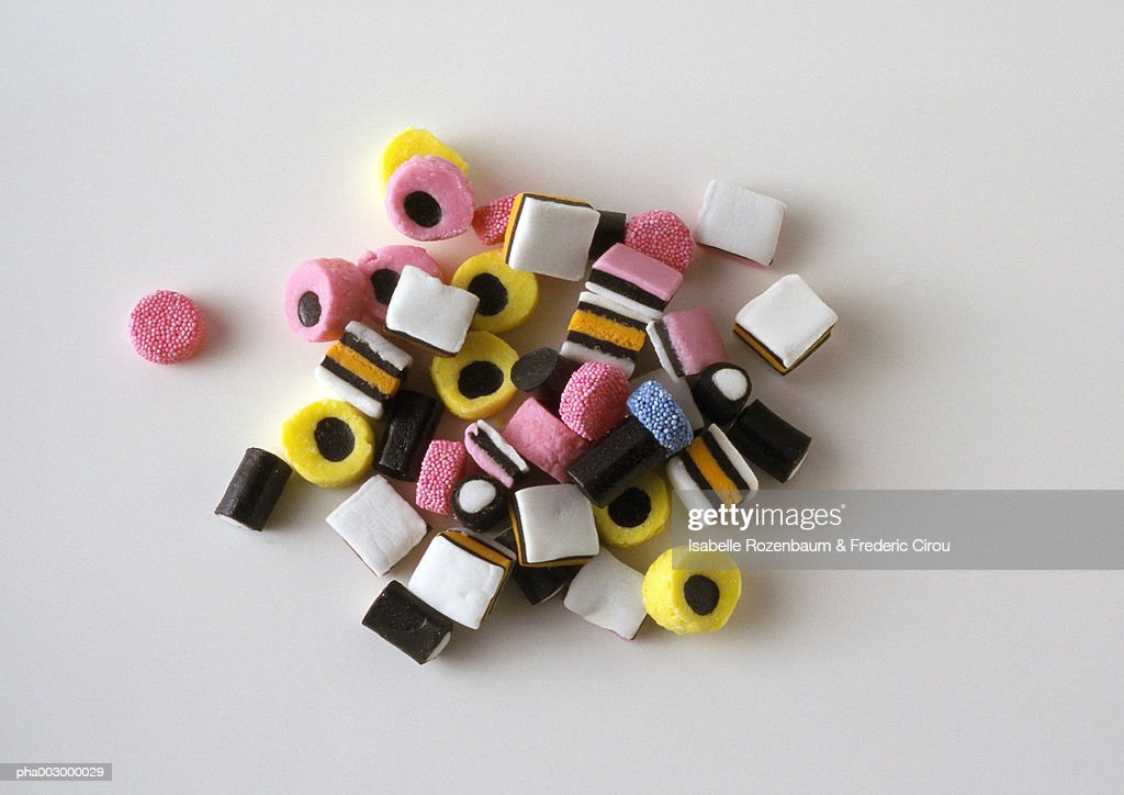 Heap of candy seen from above : Stockfoto