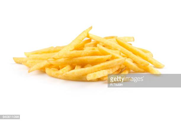 heap of french fries - fries imagens e fotografias de stock