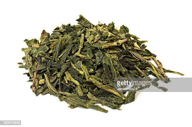 Heap Of Green Tea Leaves