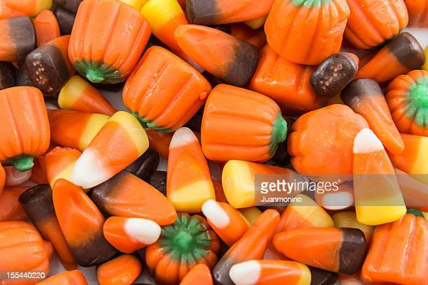 Heap of Halloween candies in close-up picture