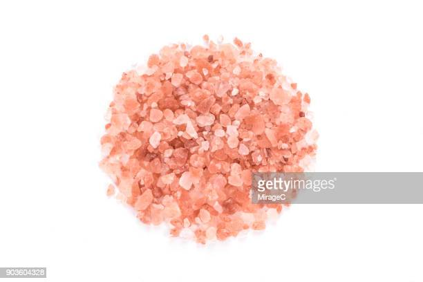 Heap of Himalayan Pink Salt on White