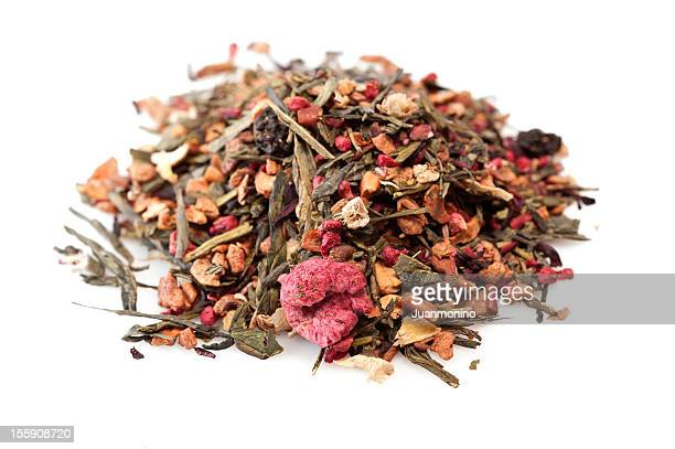 Heap of mixed berries herbal tea