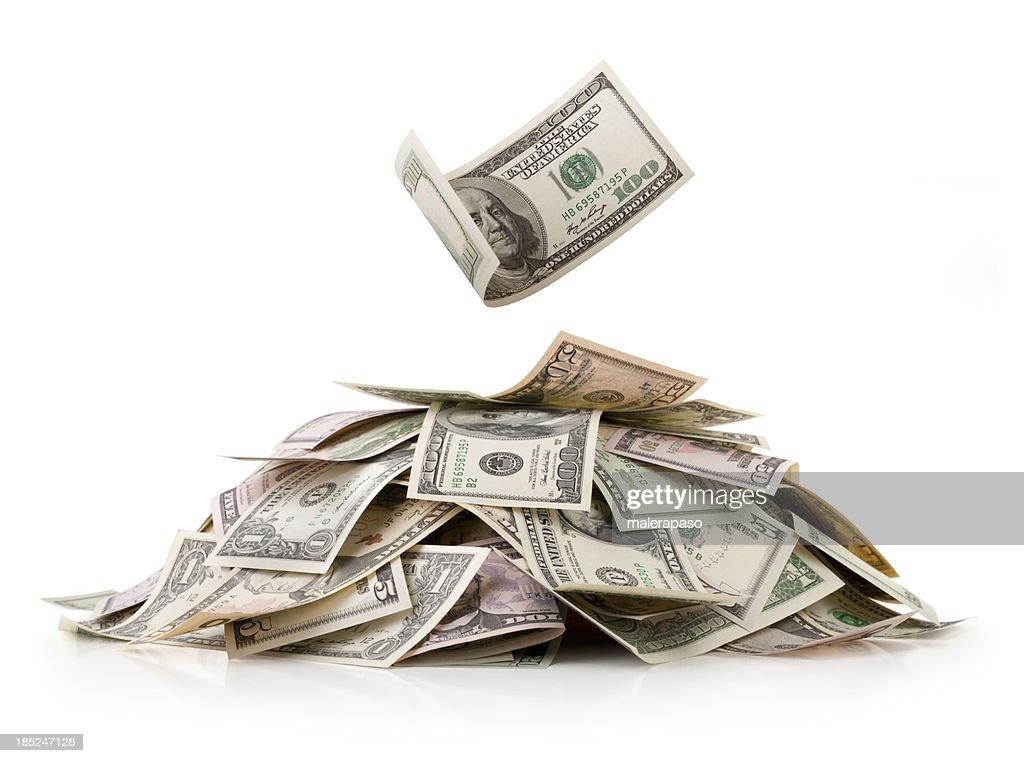Heap of money. Dollar bills. : Stock Photo