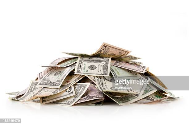 heap of money. dollar bills. - american one dollar bill stock pictures, royalty-free photos & images