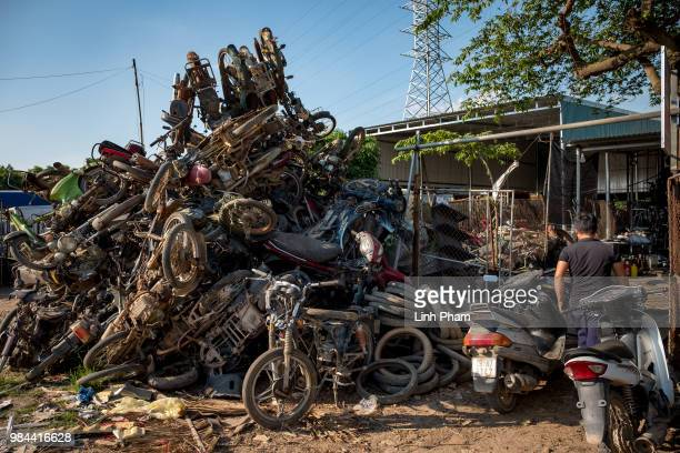 A heap of motorcycle is placed on the main road of Te Lo village on June 6 2018 in Te Lo Village Yen Lac District Vinh Phuc Province Vietnam Vietnam...