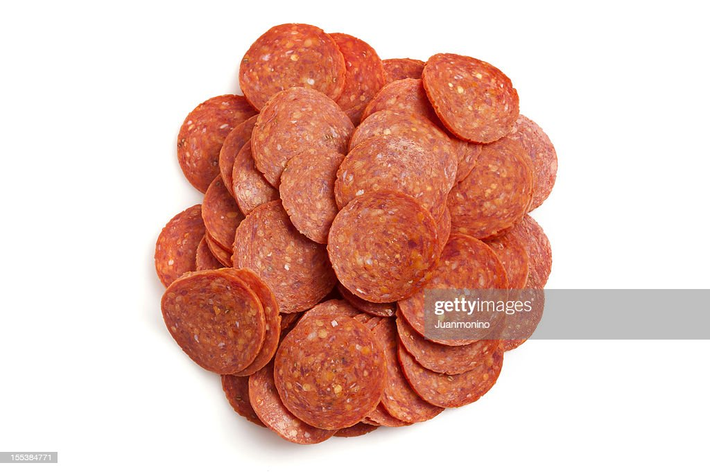 Heap of pepperoni : Stock Photo