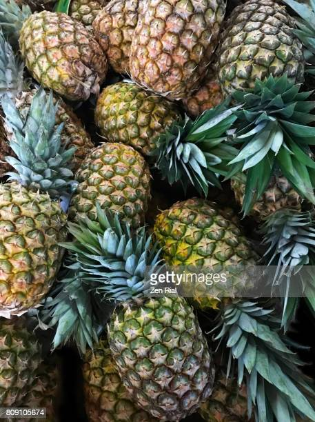 Heap of Pineapples (Ananas comosus) in a market
