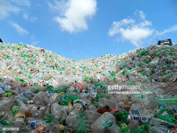 heap of plastic bottles against sky - large group of objects stock pictures, royalty-free photos & images