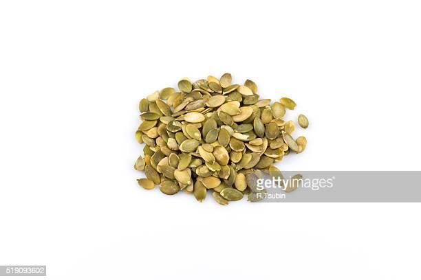 Heap of raw pumpkin seeds