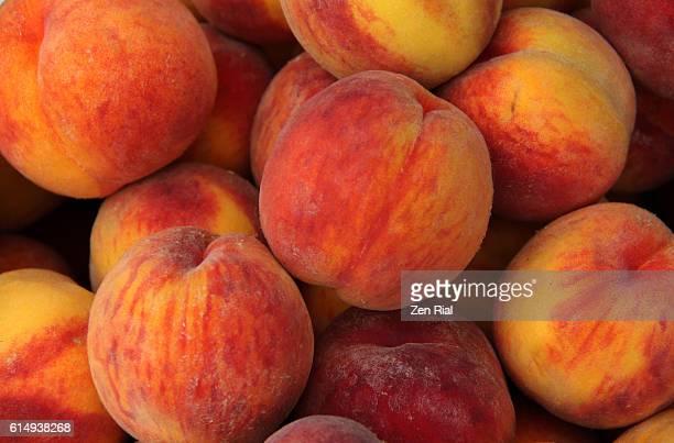A heap of ripe Peaches (Prunus persica) close-up