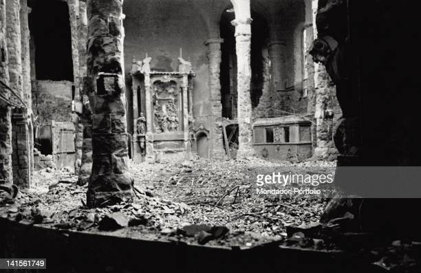 Heap of rubble of the church of the Three Kings' interior after the violent allied bombing of February 13 and 14 Dresden 1945