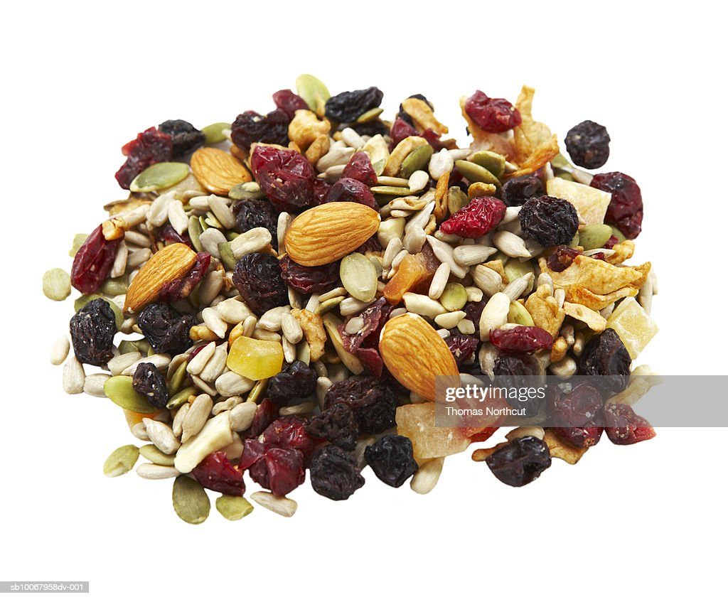 Heap of trail mix on white background : Stock Photo