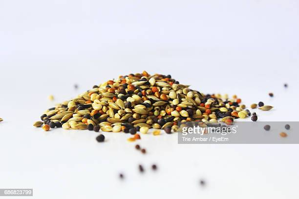 Heap Of Various Seeds On White Background