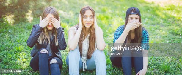 hear no evil see no evil - see no evil hear no evil speak no evil stock pictures, royalty-free photos & images