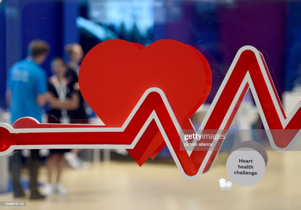 a hearbeat symbol can be seen a the philips company stand at the ifa